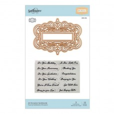 Spellbinders - Flourished Fretwork - All Occasion Sentiments Stamp & Die Set
