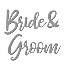 Spellbinders Die D-Lites - Bride & Groom Sentiment Etched Dies