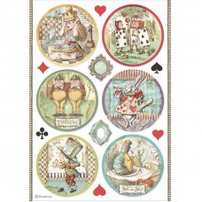 Stamperia - Alice - A4 Rice Paper - Alice Rounds