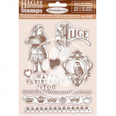 Stamperia - Alice - HD Natural Rubber Stamp - Happy Birthday