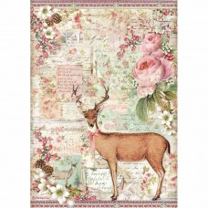 Stamperia - Pink Christmas - A4 Rice Paper - Christmas Deer