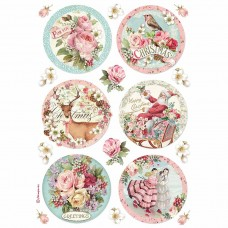 Stamperia - Pink Christmas - A4 Rice Paper - Christmas Round