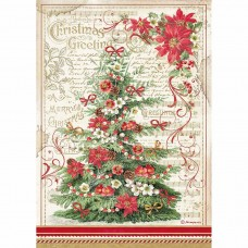Stamperia - Classic Christmas - A4 Rice Paper - Christmas Greetings Tree