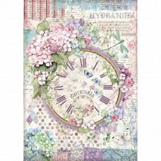Stamperia - Hortensia - A4 Rice Paper - Clock