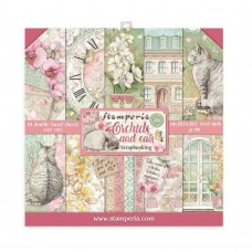 Stamperia - Orchids and Cats - 8x8 Scrapbooking Paper Pad