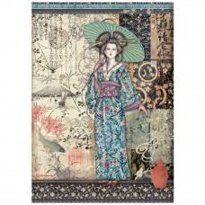 Stamperia - Sir Vagabond In Japan - A4 Rice Paper - Lady