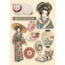 Stamperia - Sir Vagabond In Japan - A5 Coloured Frame - Lady