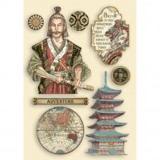 Stamperia - Sir Vagabond In Japan - A5 Coloured Frame - Samurai