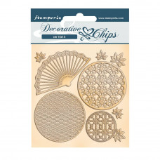 Stamperia - Sir Vagabond In Japan - Decorative Chips - Fan and Circles
