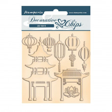 Stamperia - Sir Vagabond In Japan - Decorative Chips - Pagoda and Lamps