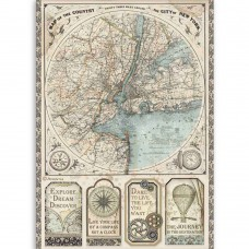 Stamperia - Sir Vagabond - A4 Rice Paper - Map Of New York