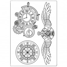 Stamperia - Sir Vagabond - Silicone Mould A5 - Clocks And Wings