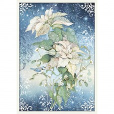 Stamperia - A3 Rice Paper - Poinsettia White