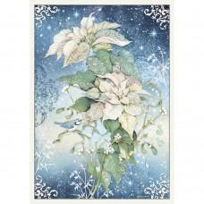 Stamperia - A3 Rice Paper - Poinsettia White