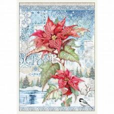 Stamperia - A3 Rice Paper - Poinsettia Red