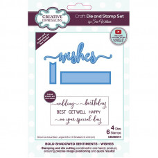 April Collection - Bold Shadowed Sentiments Wishes Craft Die & Stamp Set