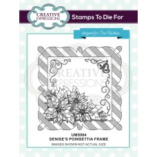 Denise's Poinsettia Frame Pre Cut Stamp - DISPATCHING WEDNESDAY 26th JUNE