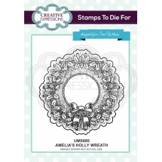 Amelia's Holly Wreath Pre Cut Stamp - DISPATCHING WEDNESDAY 26th JUNE