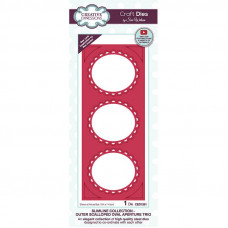 Sue Wilson 2021 Festive Collection - Slimline Outer Scalloped Oval Aperture Trio Craft Die