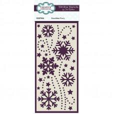 Sue Wilson 2021 Festive Collection - Snowflake Flurry Slimline Stencil