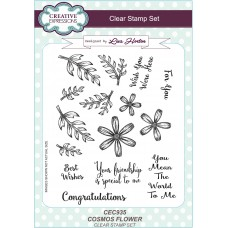 Cosmos Flower A5 Clear Stamp Set