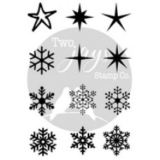 Two Jays - Finger Stamps - Snow & Stars