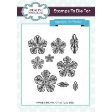 Filigree Peony Set of 9 Pre Cut Stamps