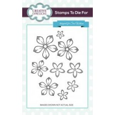 Shaded Orange Blossom Flowers Set of 9 Pre Cut Stamps