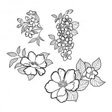 Spellbinders Cling Rubber Stamps Peonies Blossoms