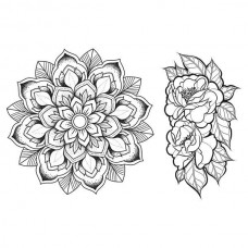 Spellbinders Cling Rubber Stamps - Mandala Blossoms