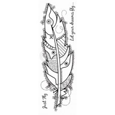 Woodware Clear Singles - Large Feather Stamp