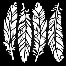 "Woodware 6"" x 6"" Stencil - Fancy Feathers"