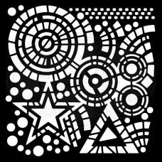 """Woodware 6"""" x 6"""" Stencil - Stars & Circles"""