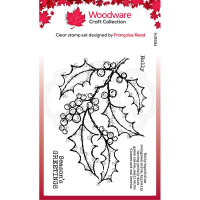 Woodware Clear Singles - Holly Spray Stamp