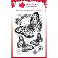 Woodware Clear Singles - Three Butterflies Stamp