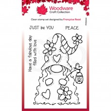 Woodware Clear Singles - Flower Power Gnome Stamp