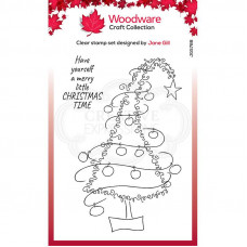 Woodware Clear Singles Festive Fuzzies - Tall Christmas Tree Stamp