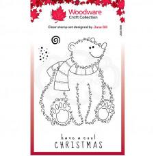 Woodware Clear Singles Festive Fuzzies - Polar Bear Stamp