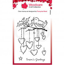 Woodware Clear Singles - Hanging Hearts Stamp