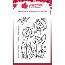 Woodware Clear Singles - Flower Blooms Stamp