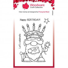 Woodware Clear Singles - Birthday Cake Gnome Stamp