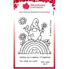 Woodware Clear Singles - Rainbow Gnome Stamp