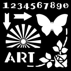 "Woodware 6"" x 6"" Stencil - Art Deco Elements"